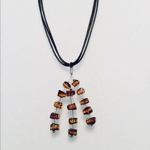 NESHKA | Baltic Amber & Leather Necklace